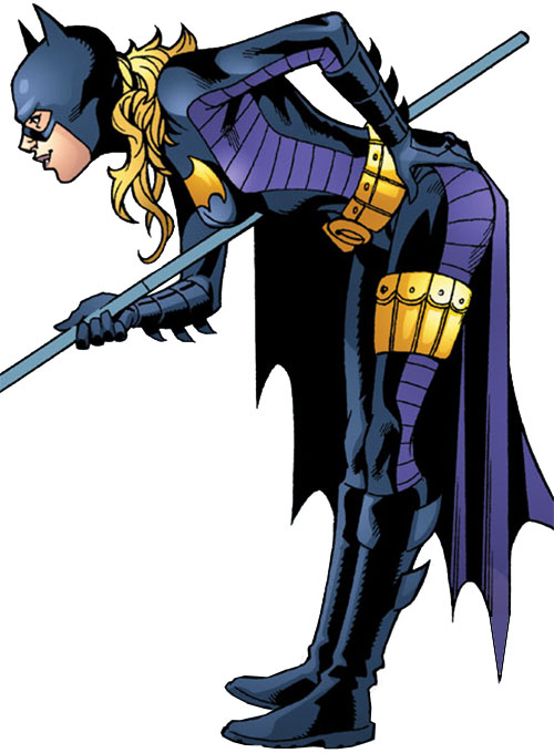 Batgirl (Stephanie Brown) (DC Comics) with her staff, leaning in