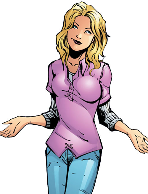 Batgirl (Stephanie Brown) (DC Comics) doing a meh gesture in a pink polo shirt