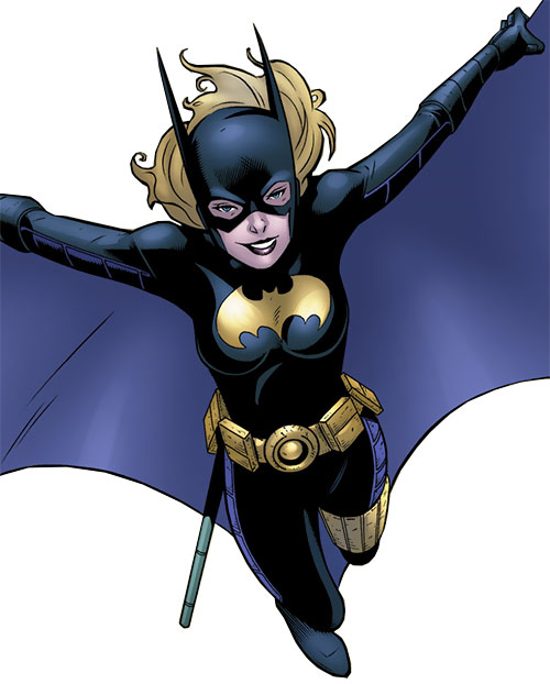Batgirl (Stephanie Brown) (DC Comics) gliding with her cape