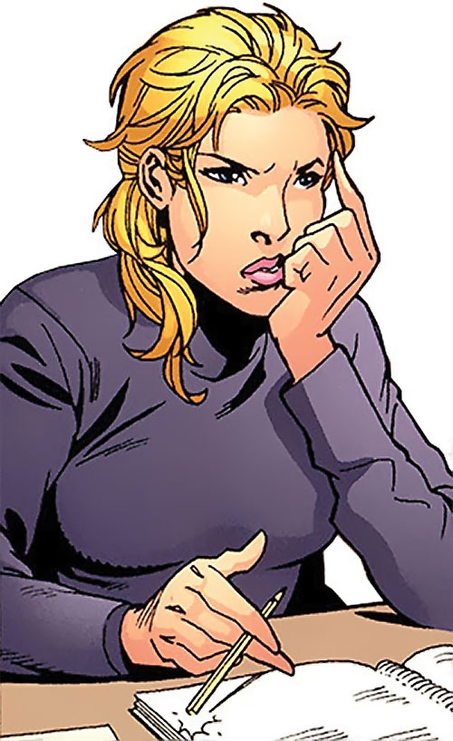 Batgirl (Stephanie Brown) (DC Comics) in class in a gray sweater