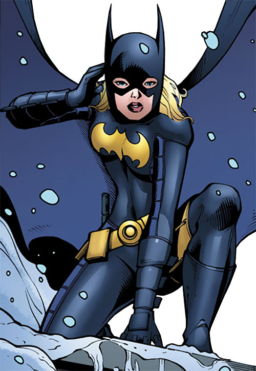 Batgirl (Stephanie Brown) (DC Comics) in the snow using her cowl radio