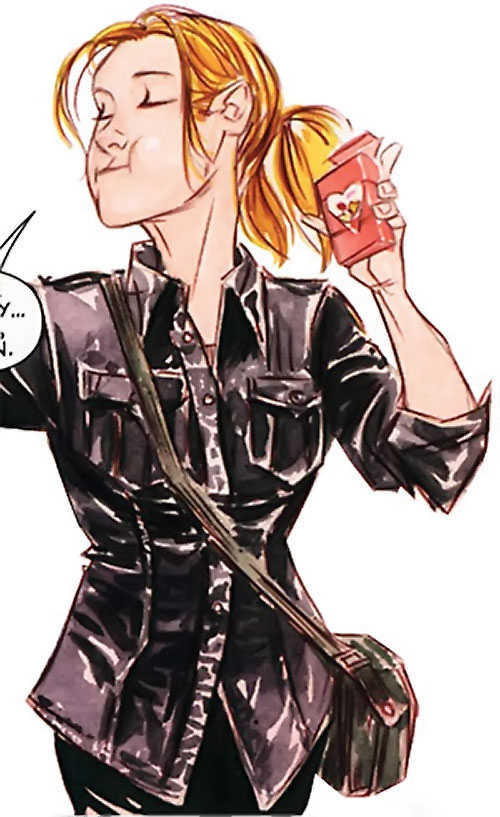 Batgirl (Stephanie Brown) (DC Comics) in a fitted black jacket