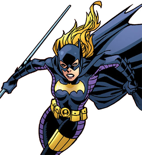 Batgirl (Stephanie Brown) (DC Comics) with staff and cape