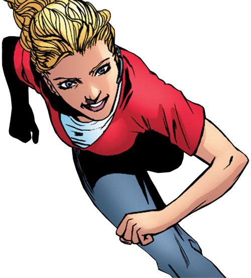 Batgirl (Stephanie Brown) (DC Comics) running in a red T-shirt and gray jeans