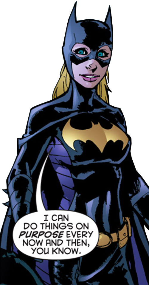 Batgirl (Stephanie Brown) (DC Comics) smiling and babbling