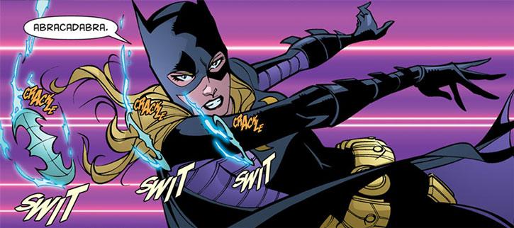 Batgirl (Stephanie Brown) throwing electro-batarangs