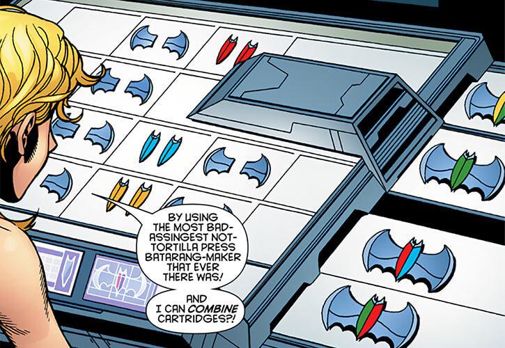 Batgirl (Stephanie Brown) using her batarang press