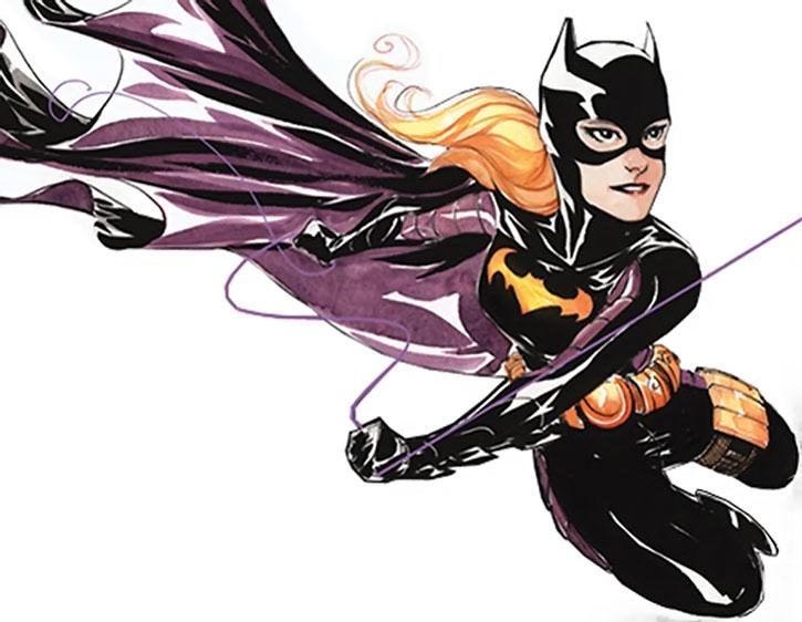 Batgirl (Stephanie Brown) using a swingline