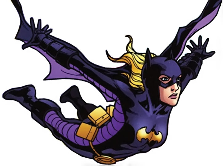 Batgirl (Stephanie Brown) in mid-air
