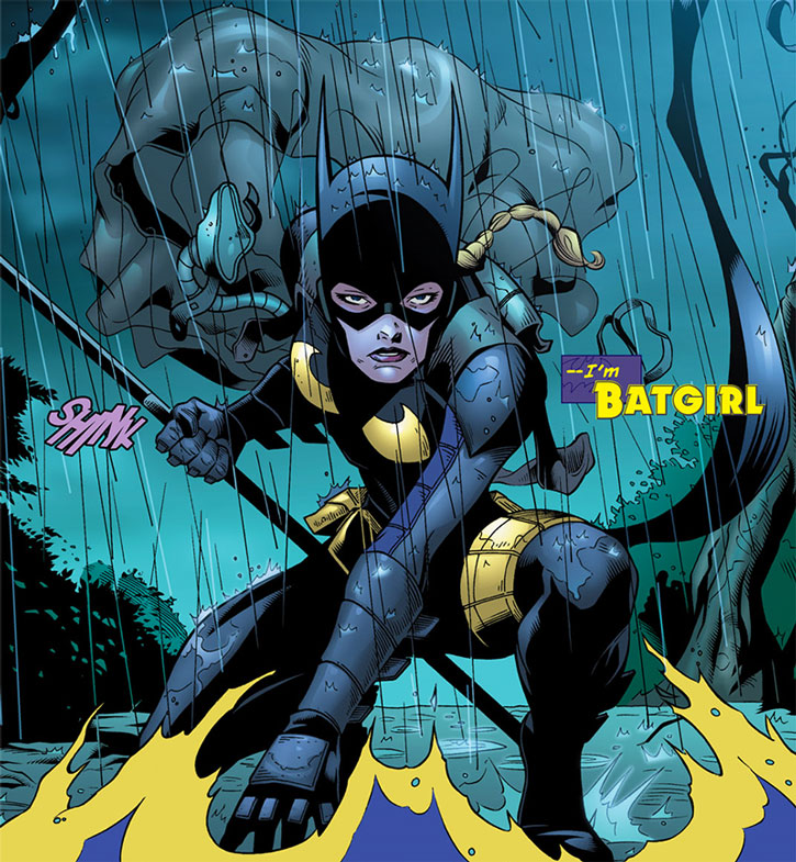 Batgirl (Stephanie Brown) lands after a parachute jump