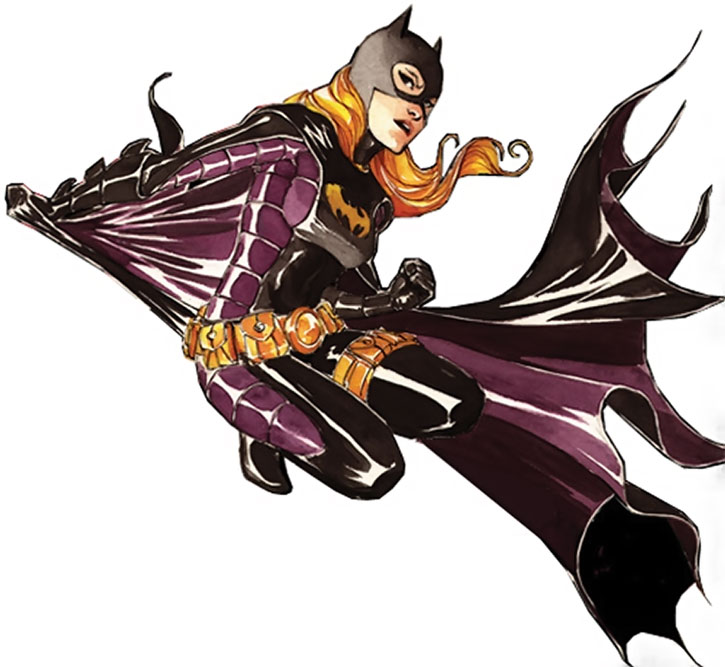 Batgirl (Stephanie Brown) posing with swirling cape
