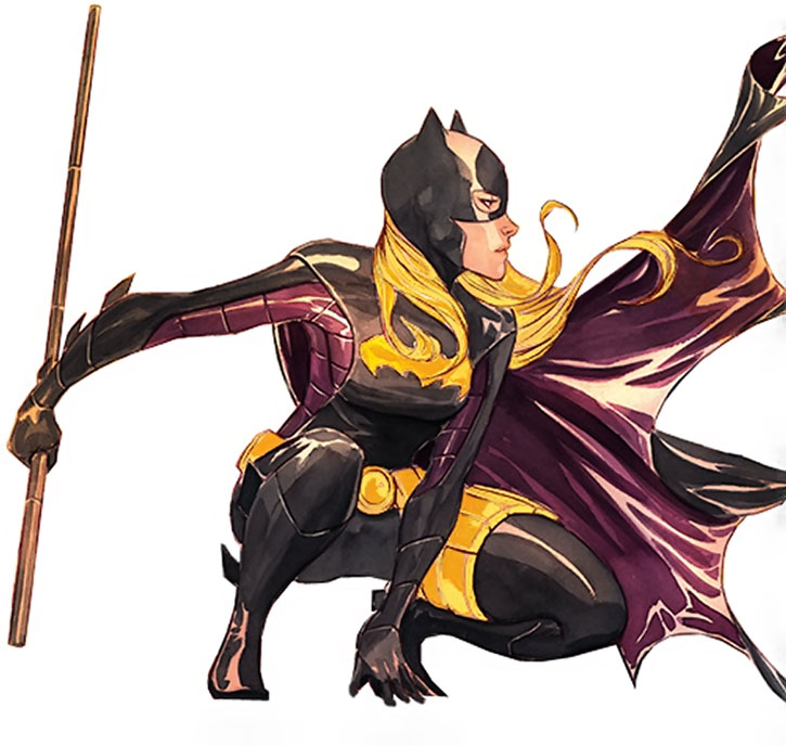 Batgirl (Stephanie Brown) posing with collapsible staff