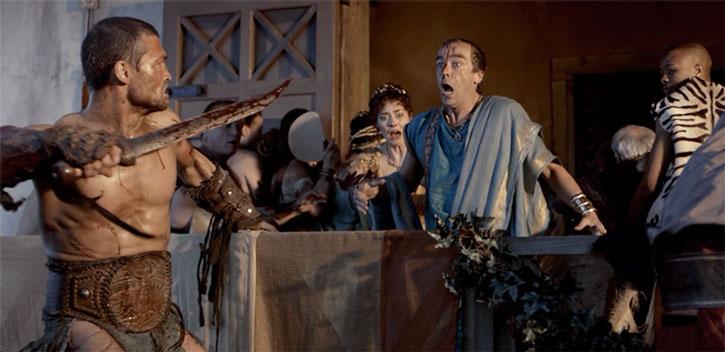 Batiatus (John Hannah) in Spartacus Blood and Sand