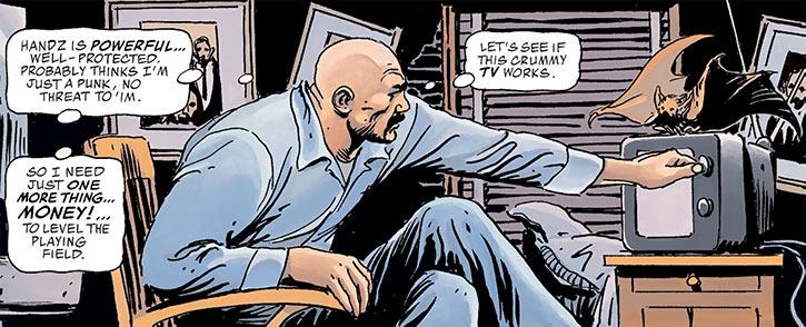 Batman (DC Comics) (Imagine Stan Lee version) with his bat and a small TV