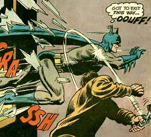 Batman Jr. (DC Comics Super-Sons) hit whilst crashing through a window