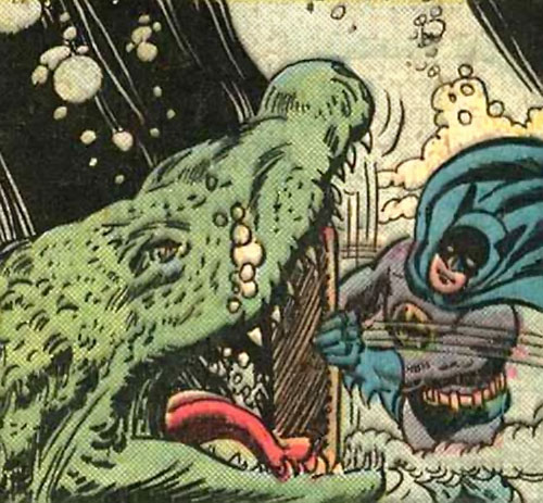 Batman Jr. (DC Comics Super-Sons) vs. a crocodile