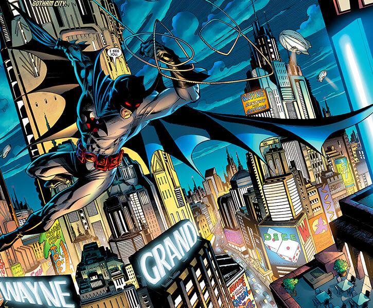 Batman (Thomas Wayne) (DC Comics) (Flashpoint timeline) over Gotham