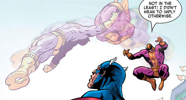 Batroc vaults over Captain America