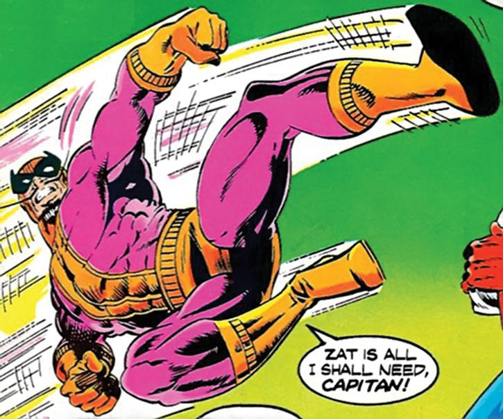 Batroc delivers a jump kick