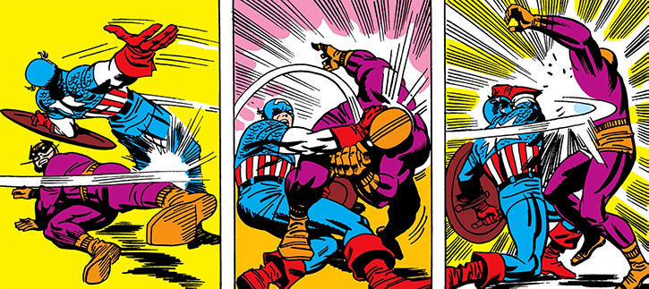 Wordless early fight between Batroc and Captain America
