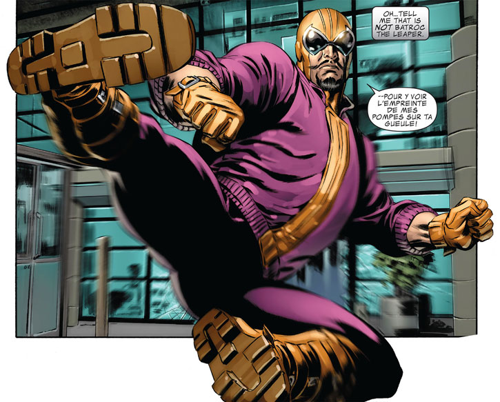 Batroc delivers a flying kick