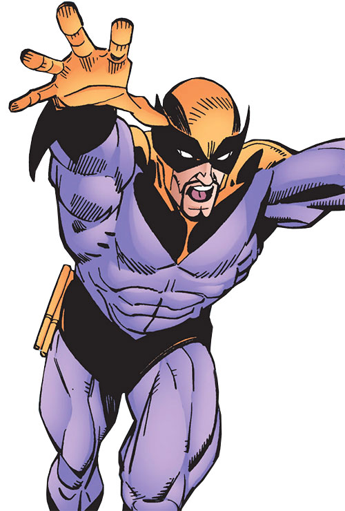 Batroc with a purple and orange costume