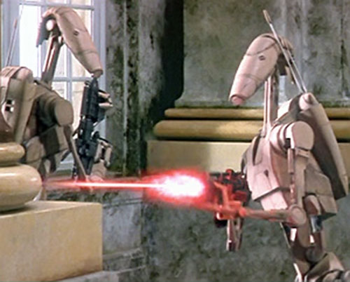 Battle Droid Federation shooting a blaster (Star Wars episode 1)