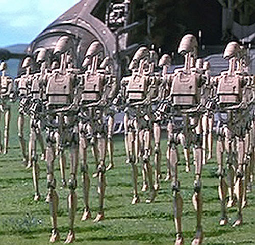 Battle Droid Federation in formation (Star Wars episode 1)