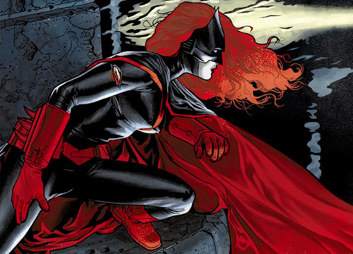 Batwoman (Kate Kane) on a bridge in the night