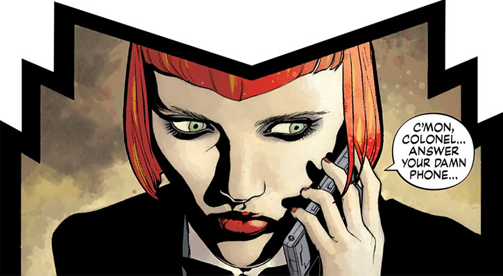 Batwoman (Kate Kane) on the phone (DC Comics)