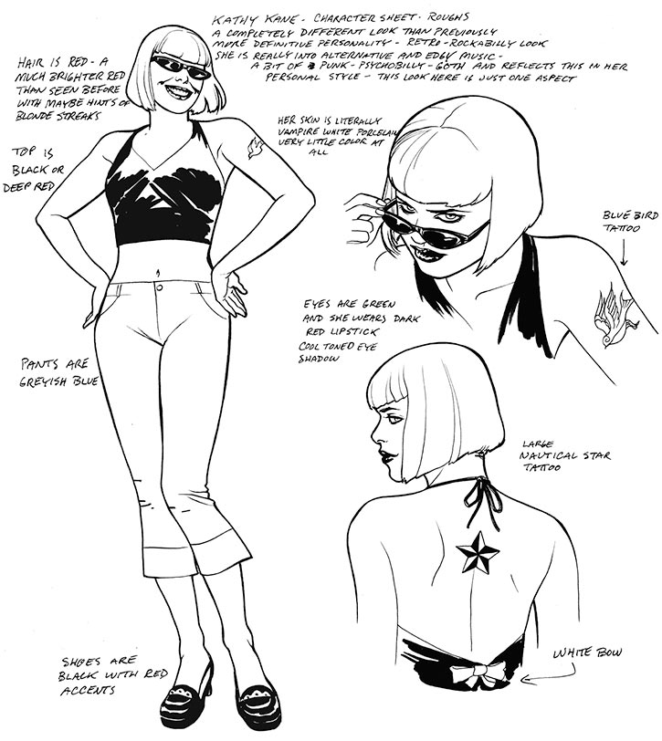 Kate Kane character design sheet