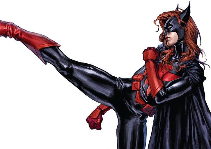 Batwoman (Kate Kane) delivers a kick