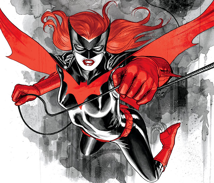Batwoman (Kate Kane) using a swingline