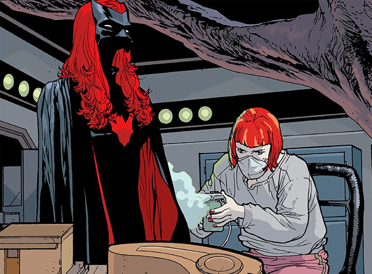 Batwoman (Kate Kane) maintaining her costume (DC Comics)