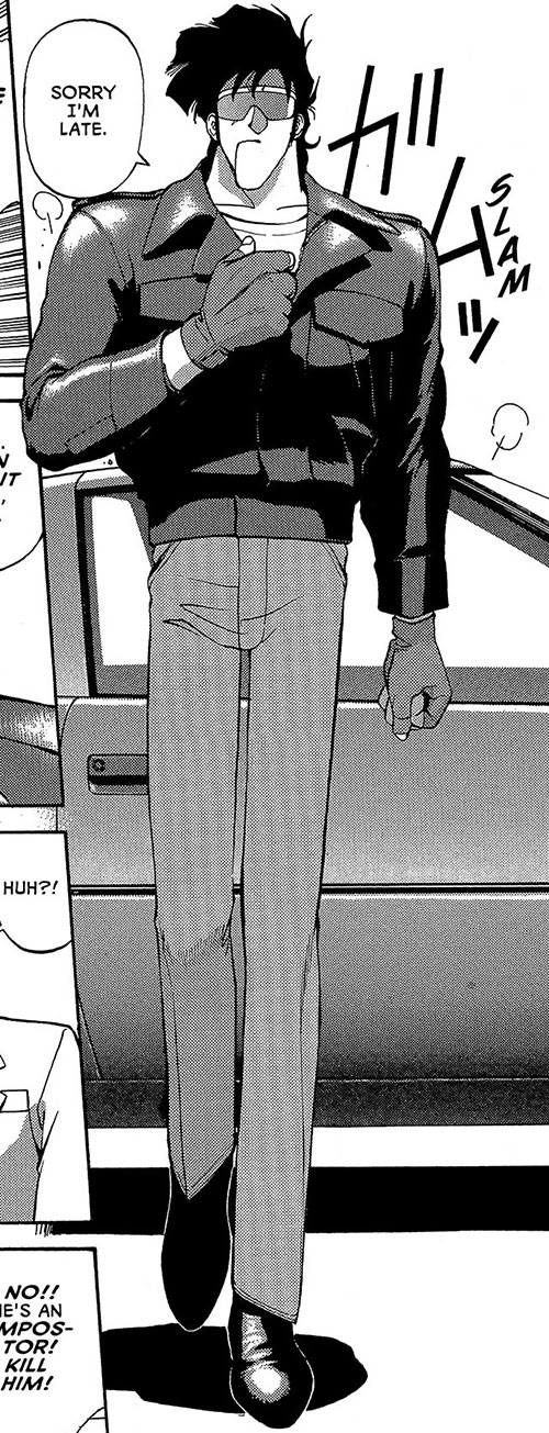 Bean Bandit (Gunsmith Cats manga) walking out of his car