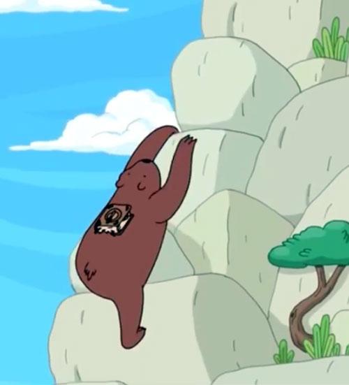 Bear (Adventure Time) climbing a cliff