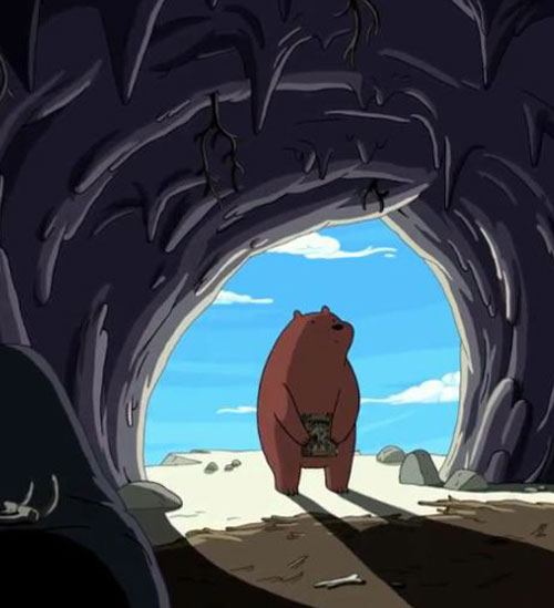 Bear (Adventure Time) entering a cave