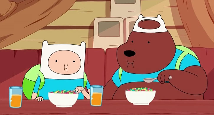 The Bear eats cereals with Finn