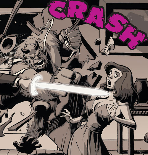 Beast of the Fables (DC Comics) crashes through a door to save a woman
