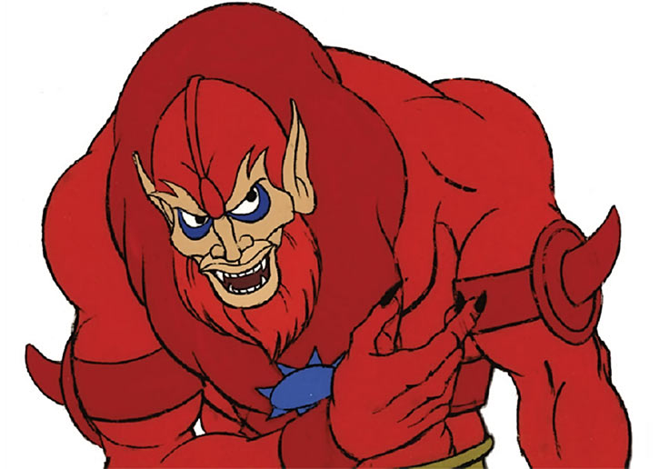 Beast-Man (He-Man and the Masters of the Universe cartoon) looking evil and hunched