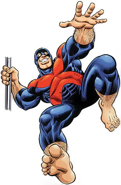 Beast (Marvel Comics) (X-Factor) swinging on a pole