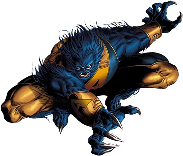 Beast (Hank McCoy) leaping with claws out