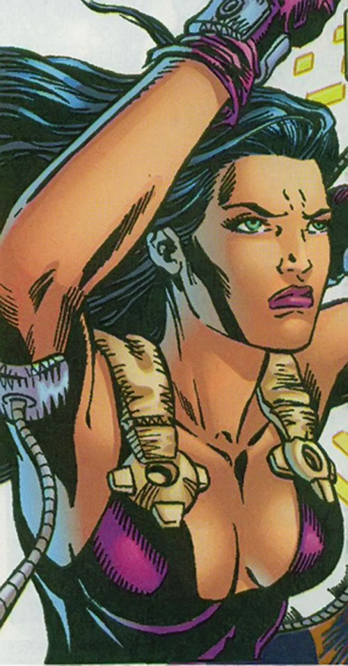 Beetle (Leila Davis) (Marvel Comics) face closeup