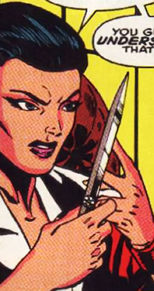 Leila Davis (Marvel Comics) with a knife