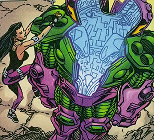 Beetle of the Redeemers (Leila Davis) (Marvel Comics) climbs into her armor