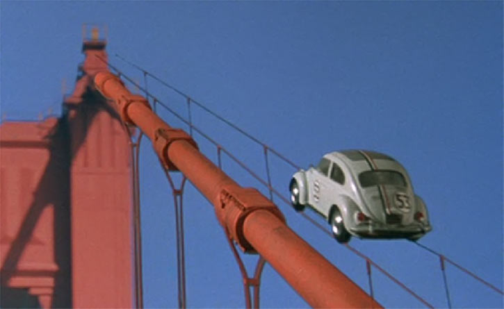 Herbie - Love bug -VW Beetle -Disney movies - Climbing wires bridge Golden gate