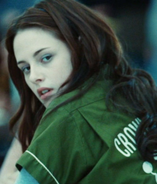 Bella Swan (Kristen Stewart in Twilight) (Early) with a green sports shirt