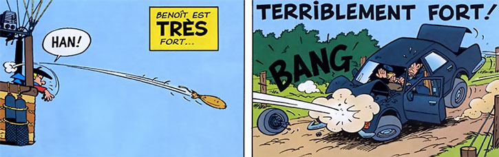 Benoit Brisefer (Benny Breakiron) throws a sandbag