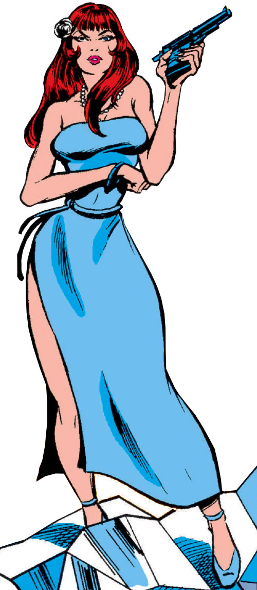 Bethany Cabe (Marvel Comics) in a sky blue cocktail dress