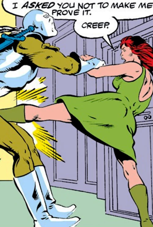 Bethany Cabe (Marvel Comics) kicks a mercenary in the nads